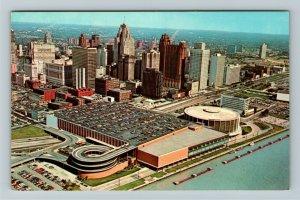 Detroit MI- Michigan, Detroit Civic Center and Skyline, Aerial, Chrome Postcard