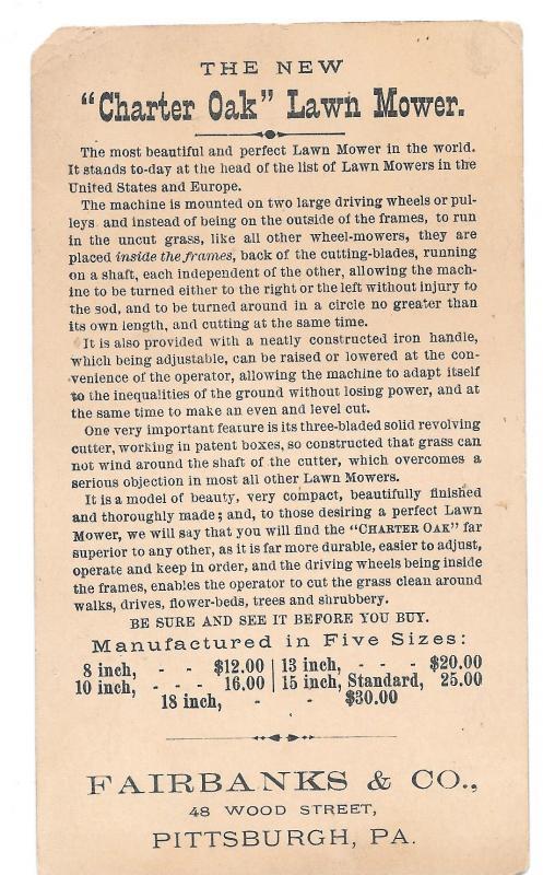 Victorian Trade Card Ladies Charter Oak Lawn Mower Fairbanks Co. Pittsburgh PA