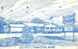 Dave's Restaurant Steaks Seafood Thomaston Maine Postcard