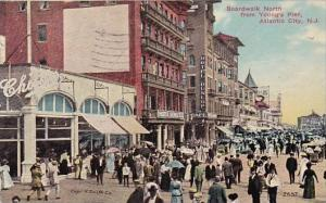 New Jersey Atlantic City Boardwalk North From Youngs Pier 1912