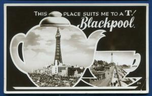 Lancashire Blackpool 2 views Suits me to T teapot real photo postcard 1952