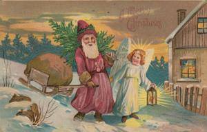 CHRISTMAS, PU-1908; Santa Claus with sleigh of toys & tree,  Angel with lantern