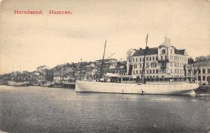 Hernösand Hamnen Sweden~Excursion Boat at Docks~Shoreline Buildings~1908 B&W PC
