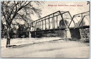 Chetopa, Kansas Postcard Bridges over Neosho River c1910s Unused