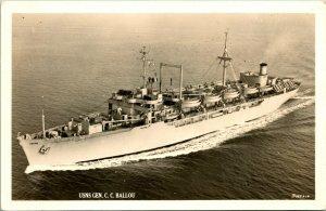 Vtg Carte Postale Cppr Usns Génération C.C.Ballou C-4 Type Troopship