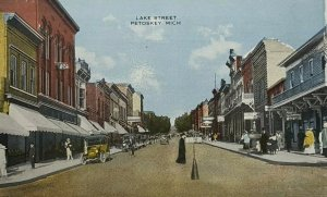 c1910s Petoskey Mich Lake Steet Scene Stores Signs Cars Old Vintage Postcard A9c