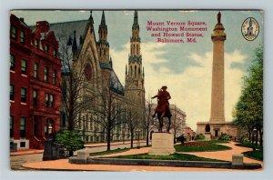 Baltimore MD-Maryland, Mount Vernon Square, Howard Statue Vintage c1913 Postcard
