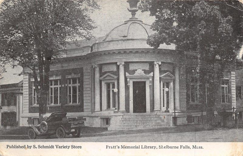 Shelburne Falls Massachusetts~Pratt's Memorial Library~Vintage Auto~1921 Swallow