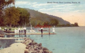 SHADY BEACH BOAT LANDING PEORIA, IL people on dock 1917