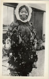 RP: Native woman in feather Parka , Alaska , 1930s