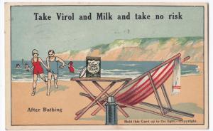 'Take Virol & Milk' Novelty Hold To Light Advertising PPC, 1928 PMK to Herne Bay