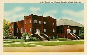 M. E. Church and Masonic Temple in Milford Nebraska NE Linen