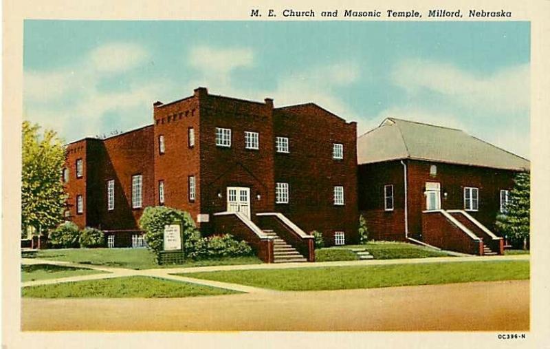 M. E. Church and Masonic Temple in Milford Nebraska NE Linen