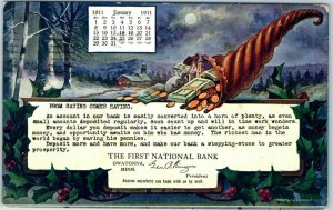 Owatonna, Minnesota Advertising Postcard THE FIRST NATIONAL BANK January 1911