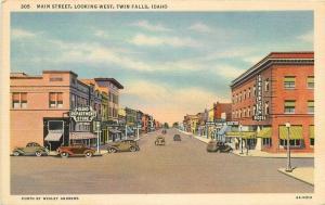 Andrews Autos Main Street Looking West Twin Falls Idaho Teich postcard 10711