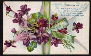 "Violet – ""I am true"" - deeply embossed friendship card"