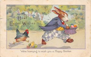 F30/ Easter Postcard Holiday Greetings 1929 Dressed Rabbit Hurrying 14