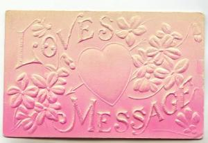 Deep Embossed Silkscreen, Loves Message. Pink