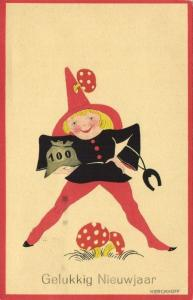 Artist Signed Kerckhoff, Gnome with Mushrooms, Happy New Year (1932) Postcard