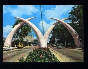 210054 KENYA Mombasa giant tusks old postcard