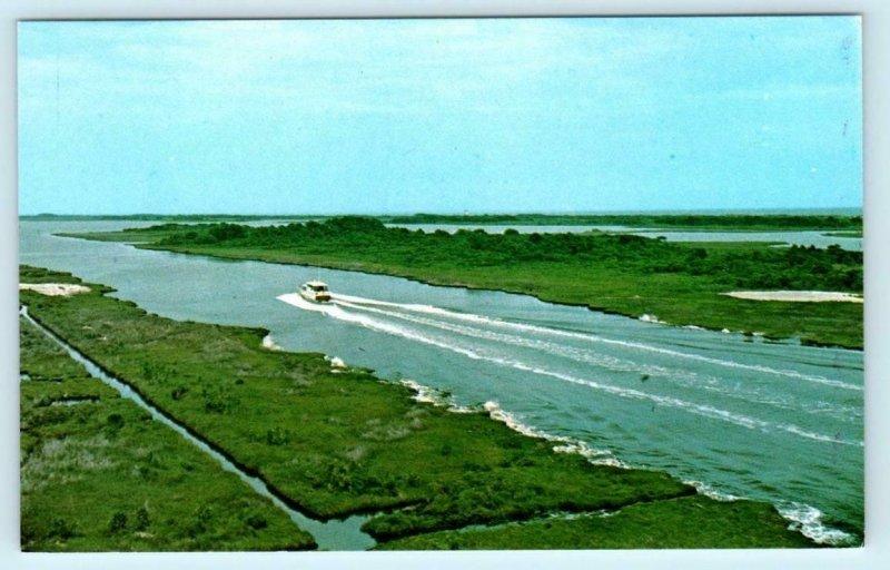 INTRA-COASTAL WATERWAY, North Carolina to TOPSAIL ISLAND Onslow Beach Postcard