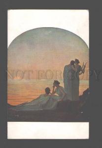 083890 Evening Women w/ Lyre HARP by OSBERT vintage PC