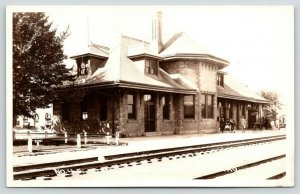 Caldwell ID~Oregon Short Line Railroad Station~Baby Carriage~RR Depot~1920s RPPC