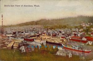 1908 Aberdeen Washington Postcard: Masted Ships & Lumber Yards