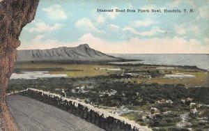 Diamond Head from Punch Bowl, Honolulu, Hawaii, Early Postcard, Unused