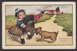 Thanksgiving Greeting,Turkey,Girl,Dog Postcard