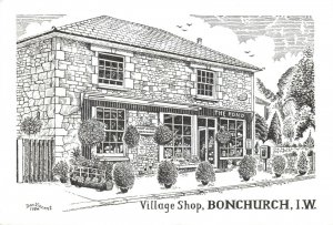 Art Sketch Postcard, Village Shop Bonchurch Isle of Wight by Don Vincent AS1