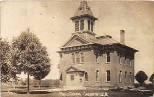 G14/ Chesterville Ohio RPPC Postcard c1910 Public School Building