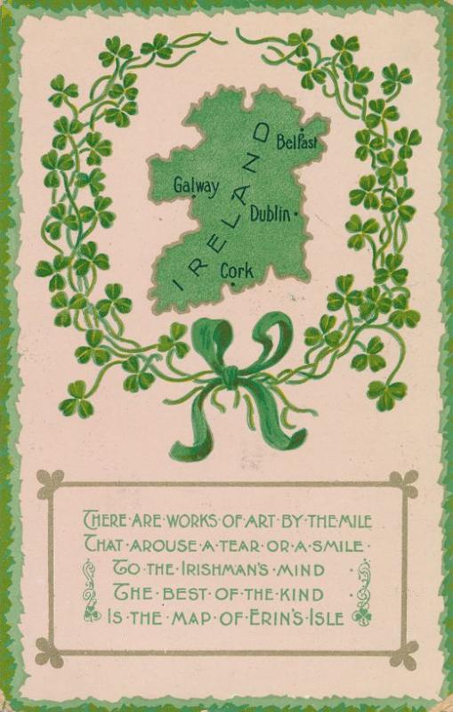 St Patricks Day Greetings - Best Work of Art - Map of Ireland - pm 1909 - DB