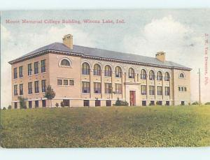 Divided-Back MOUNT MEMORIAL COLLEGE BUILDING Winona Lake Indiana IN L9408