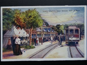 Isle of Man LAXEY ELECTRIC TRAM STATION - Old Postcard
