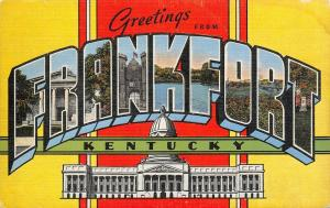 Frankfort Kentucky~Large Letter Linen Postcard~Capitol Building~Prison~1940s PC