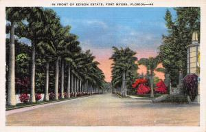 In Front of Edison Estate, Fort Meyers, Florida, Early Linen Postcard, Unused