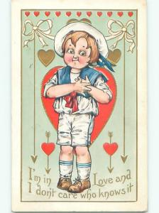 Pre-Linen valentine BOY IN SAILOR CLOTHES GRABS AT HEART J0505