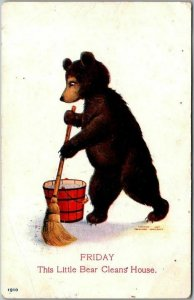 Artist-Signed WALL Busy Bears Postcard FRIDAY Little Bear Cleans House c1910s