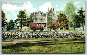 Topeka Kansas~Bethany College~Rock Wall Surrounds Campus~Dirt Road~c1910 PC