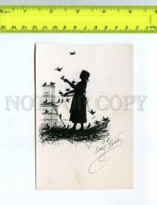 232422 Elizabeth BEM silhouette RARE vintage lithography card