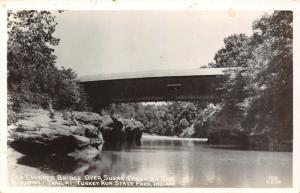 Nashville Indiana~Turkey Run State Park~Sugar Creek Covered Bridge~1940s RPPC