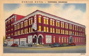 Pawhuska Oklahoma Duncan Hotel Exterior Street View Antique Postcard K22073