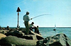 Rhode Island Galilee Fishing Off The Rocks