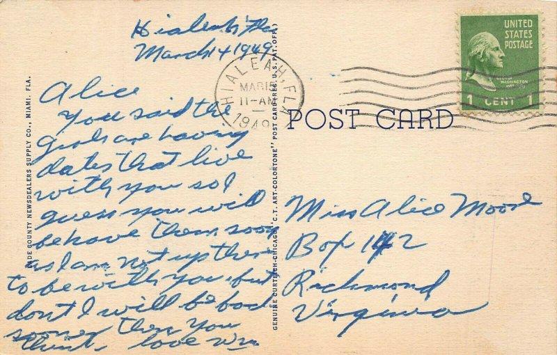 MIAMI FL~FRIENDLY WINGS-NAVY BOMBERS FROM OPALOCKA STATION~1949 PSMK POSTCARD