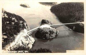 RPPC DECEPTION PASS, WA Bridge Whidbey Island c1940s Vintage Postcard
