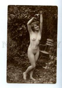 129068 NUDE Woman in Garden Vintage Real PHOTO GA #224 PC