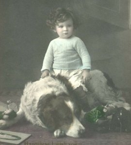 Antique Birthday card postcard RPPC young girl & dog portrait photograph #62