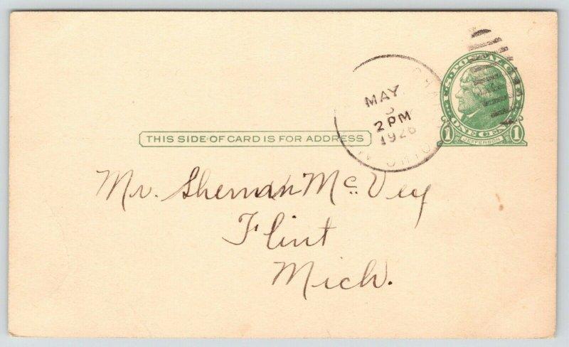 Mount Mt Blanchard OH~Homecoming~Hauman~Hite~Nesbaum~Sherman McVey 1926 Flint MI