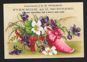 VICTORIAN TRADE CARD Woolman Milk Happy Christmas & New Year Red Shoe & Flowers